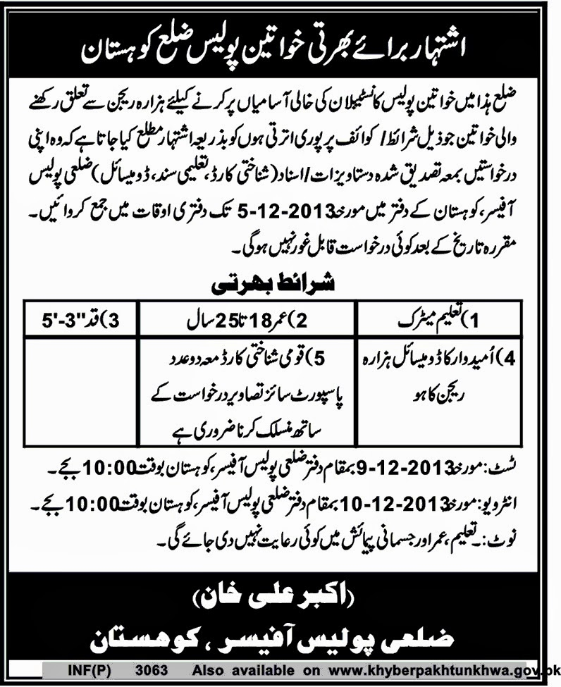 Lady Constable Vacancies in Police Department Kohistan, KPK