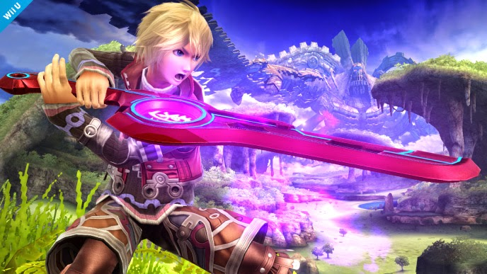 Shulk holding his glowing sword in Wii U version of Super Smash Bros.