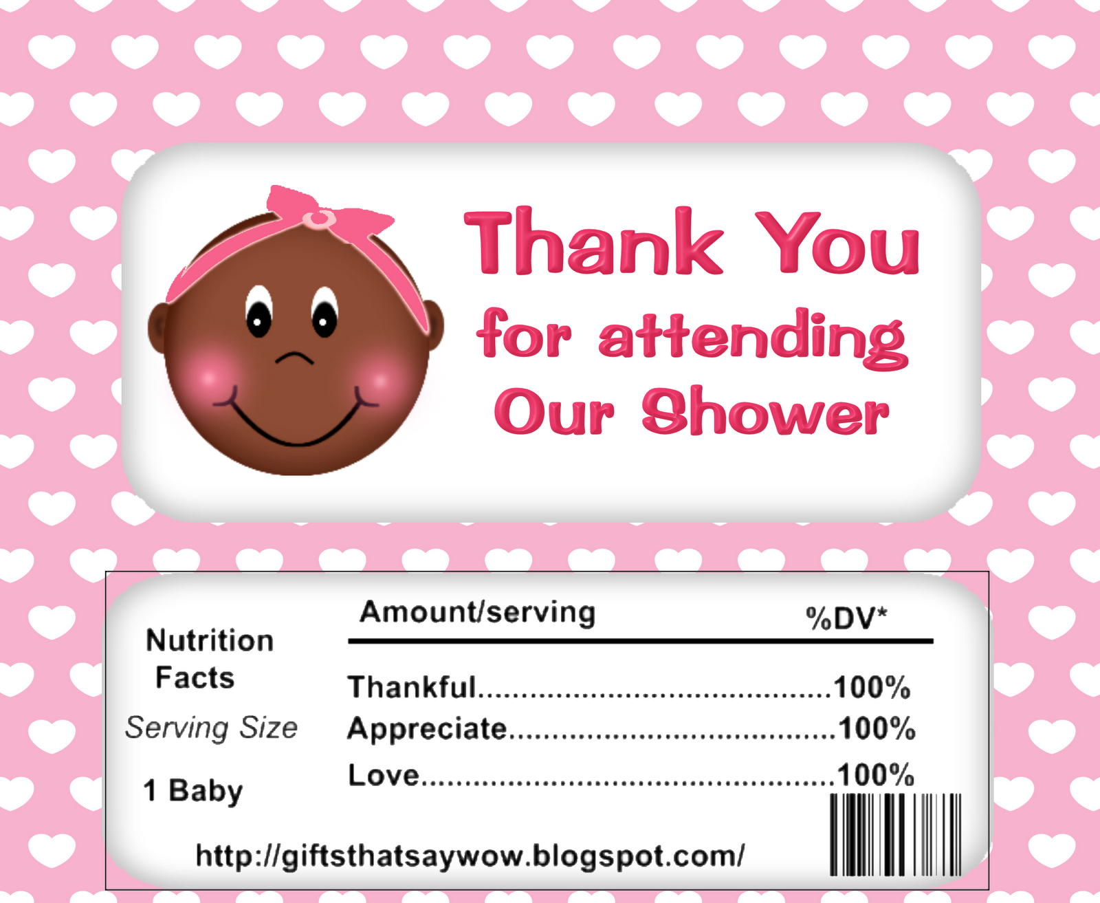 Free Printable Baby Shower wrapper for African American girls. Great ...