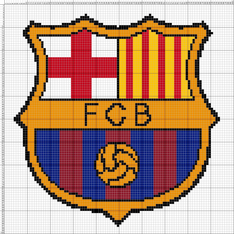Gambar Pola Kristik Sederhana Logo FC Barcelona - Spanyol
