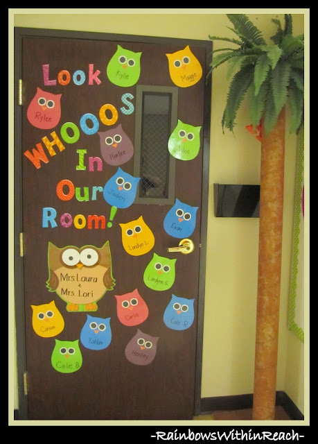 photo of: Classroom Door on Owl Theme w DIY Palm Tree via RainbowsWithinReach
