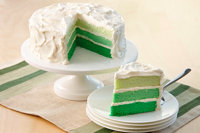 A showstopper for St. Patrick's Day celebrations – a layer cake in multiple hues of green inspired by fashion's color fade craze.