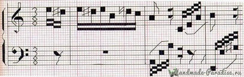 Вышивка с нотами схема