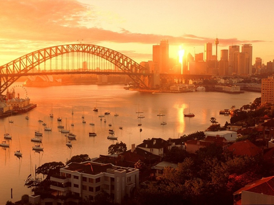 Sydney Harbour with sunset