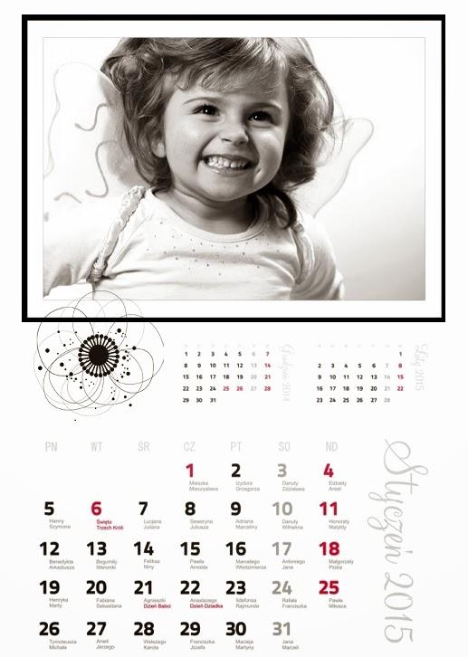 fotokalendarz projekt czarno biały