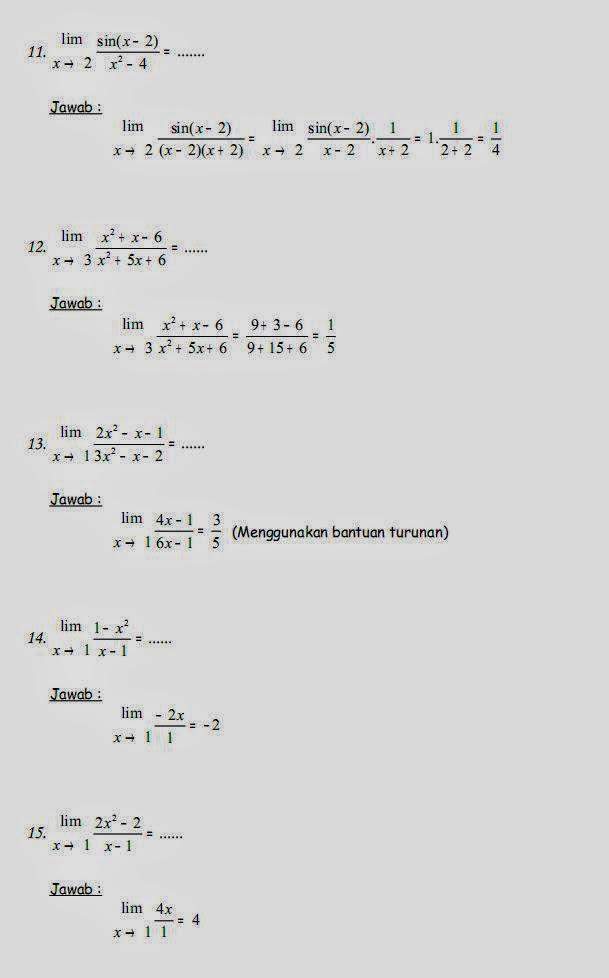 Matematika Di Sma Soal Soal Fungsi Limit Dan Pembahasannya