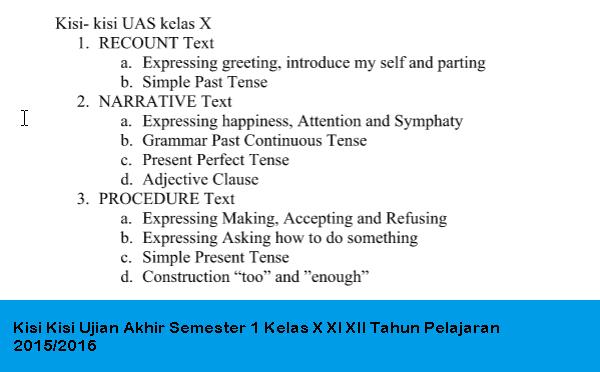 Kisi Kisi Ujian Akhir Semester 1 Kelas X XI XII Tahun Pelajaran 2015/2016