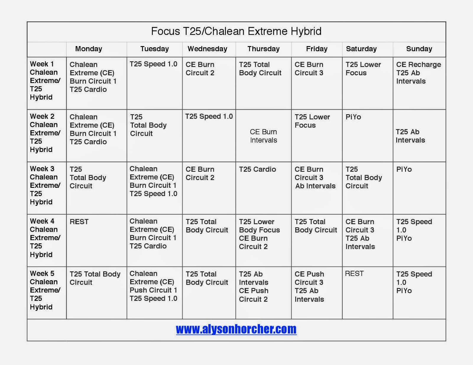 www.alysonhorcher.com, Focus T25, Chalean Extreme, T25/Chalean Extreme hybrid, women's progress update, T25/Chalean Extreme progress update, T25/Chalean Extreme Hybrid schedule, Chalean Extreme/T25 hybrid schedule