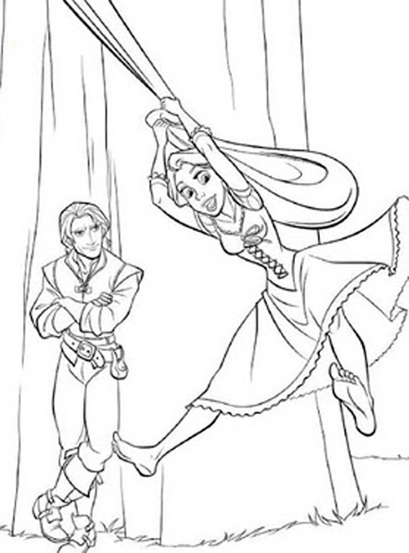 Animated Cartoon Disney Tangled Rapunzel Coloring Sheet title=