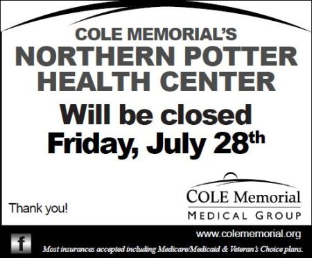 7-28 Northern Potter Health Center Closed