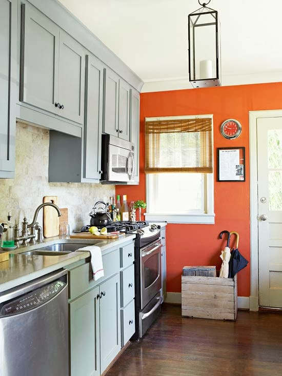 pressure by painting one wall in your kitchen in a bold accent color