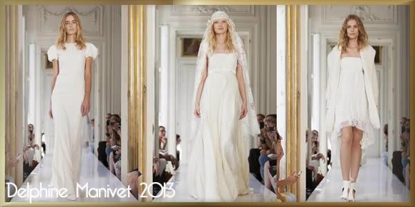 Collection Delphine Manivet,des robes épurées et joliment ornées de dentelle, de broderies et deguipures.