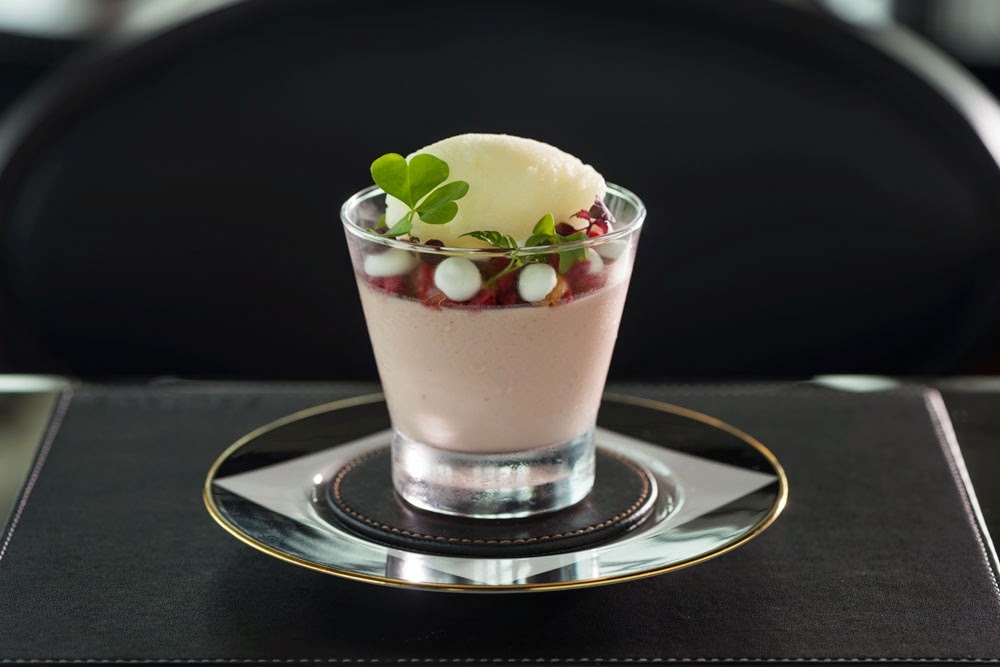 The Strawberry Posset consists of strawberry granola, meringues, lemon sorbet and 20-year-old balsamic