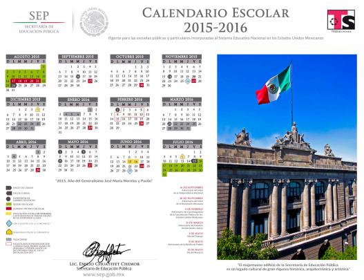 Calendario de Telesecundaria 2015-2016 (OFICIAL)