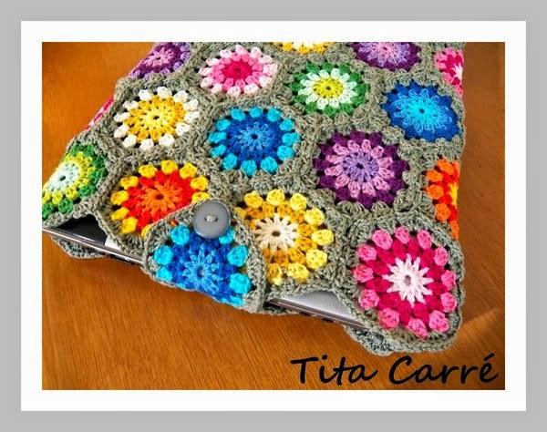 Case para Notebook em Hexágonos de crochet - Pronta-entrega