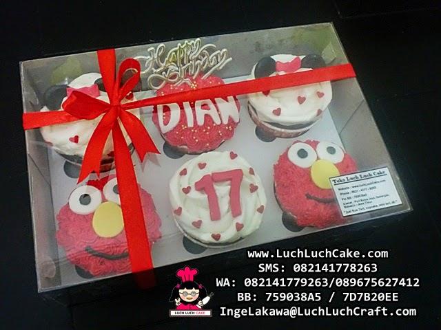 Cupcake Ulang Tahun Elmo Buttercream Daerah Surabaya - Sidoarjo