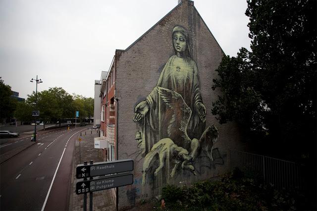"""Alas! how pitiful."" street art  Mural By Faith47 In Heerlen, Netherlands."