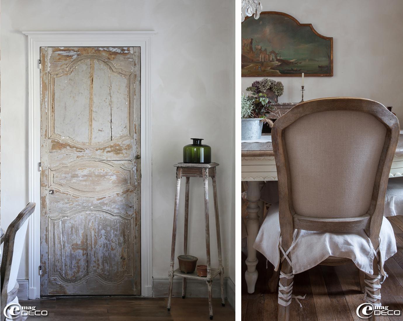 Sellette chinée au 'Marché Serpette' des Puces de Saint-Ouen, flacon de la boutique 'Blanc bleu' à Paris et chaise habillée de ruban à la manière d'une ballerine