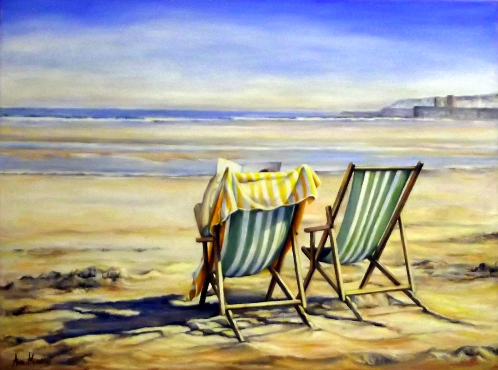 Ana migu lez pict20131229 sillas en la playa oleo sobre - Silla para la playa ...