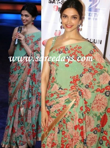 Latest saree designs deepika padukone in green sabyasachi saree checkout bollywood actress deepika padukone in green sabyasachi saree with floral print all over the saree and with gold border and paired with matching altavistaventures Image collections