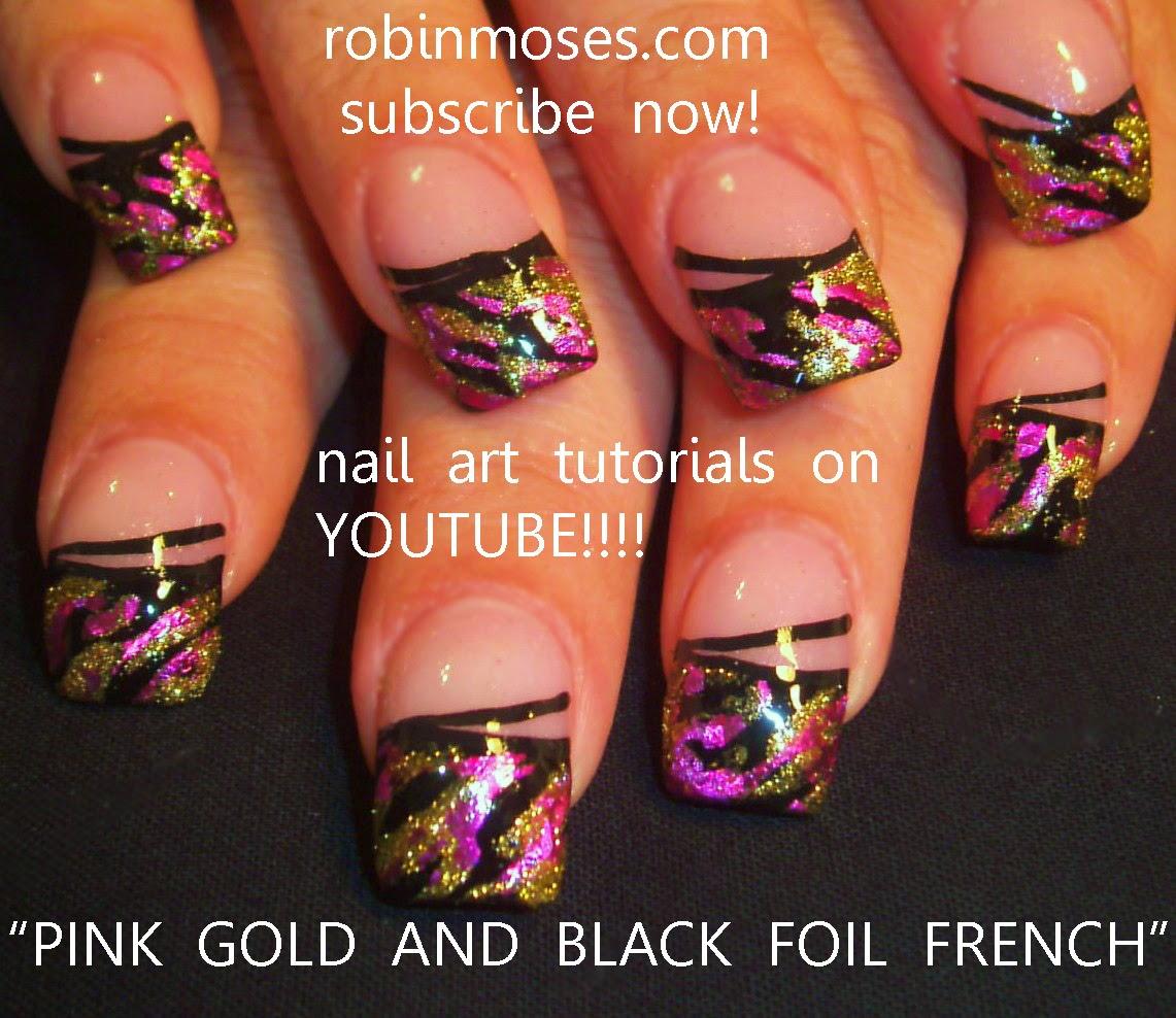 """Nail Art By Robin Moses: """"pink And Black Nails"""" """"pink And"""