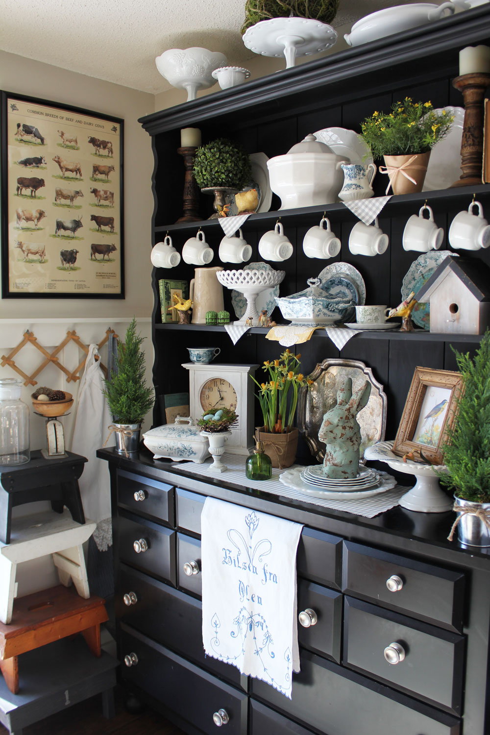 Springtime hutch inspiration itsy bits and pieces for Hutch decor