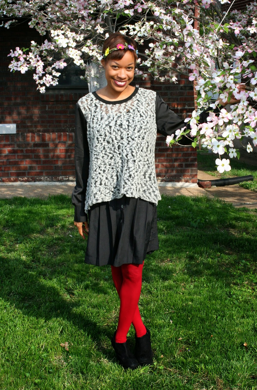 floral headband, black skirt and tights