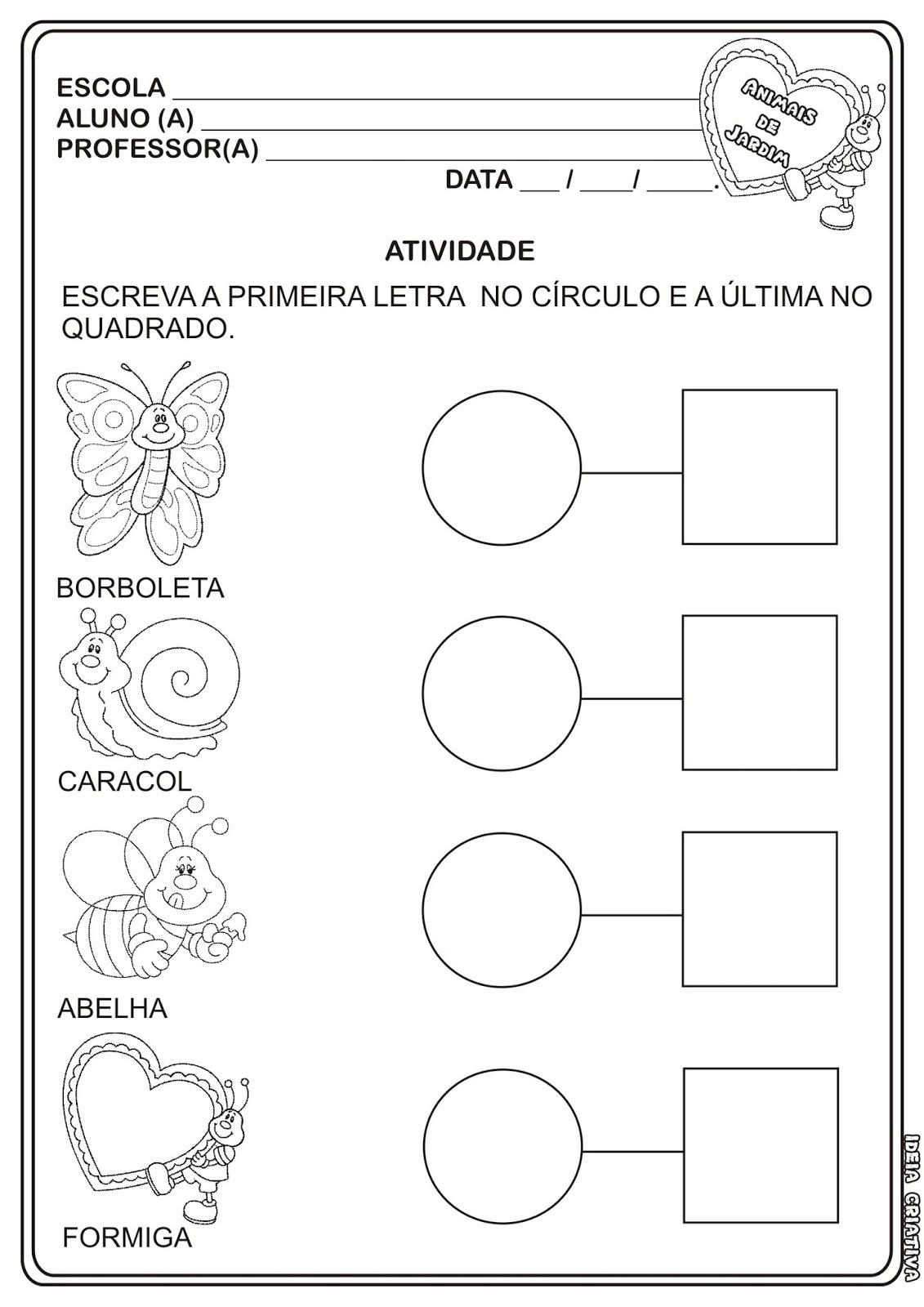 Atividade Letra Inicial e  Letra Final Projeto Animais de Jardim