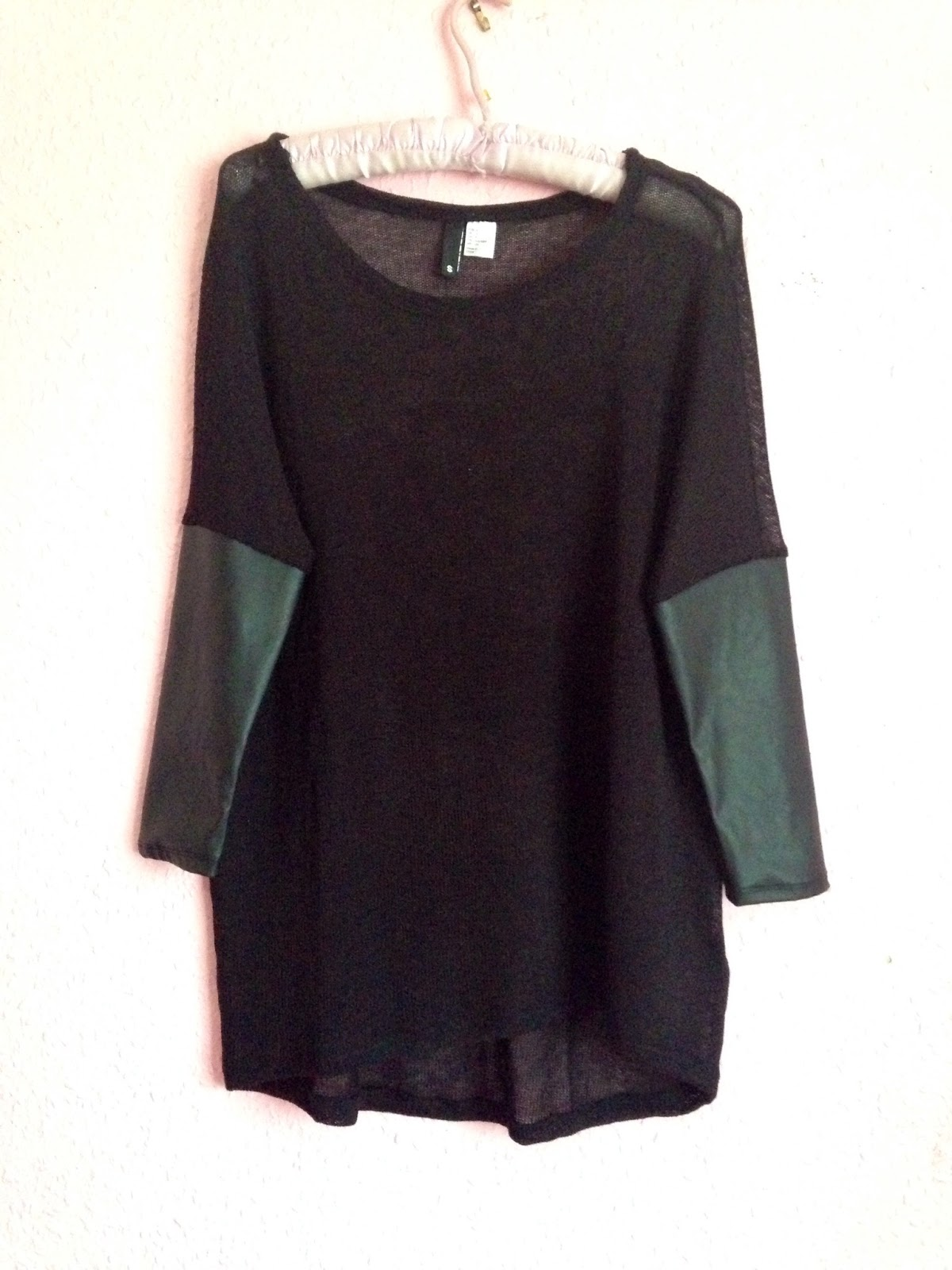 H&M Fine-Knit Jumper with Leather Sleeves