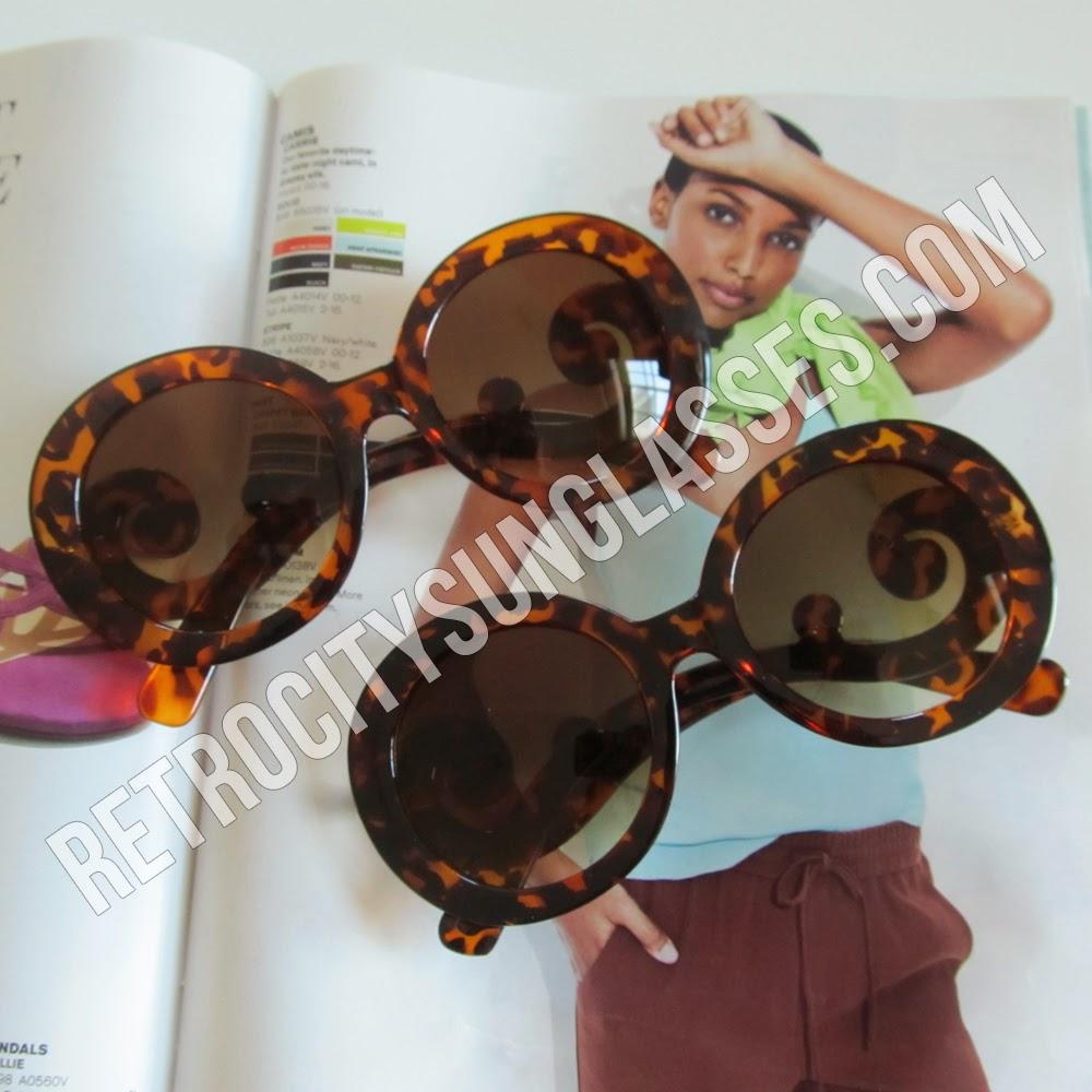 Cheap Tortoise Oversized Round Sunglasses