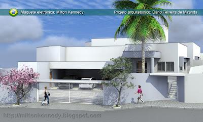 Maquete virtual projeto casa fachada contemporânea