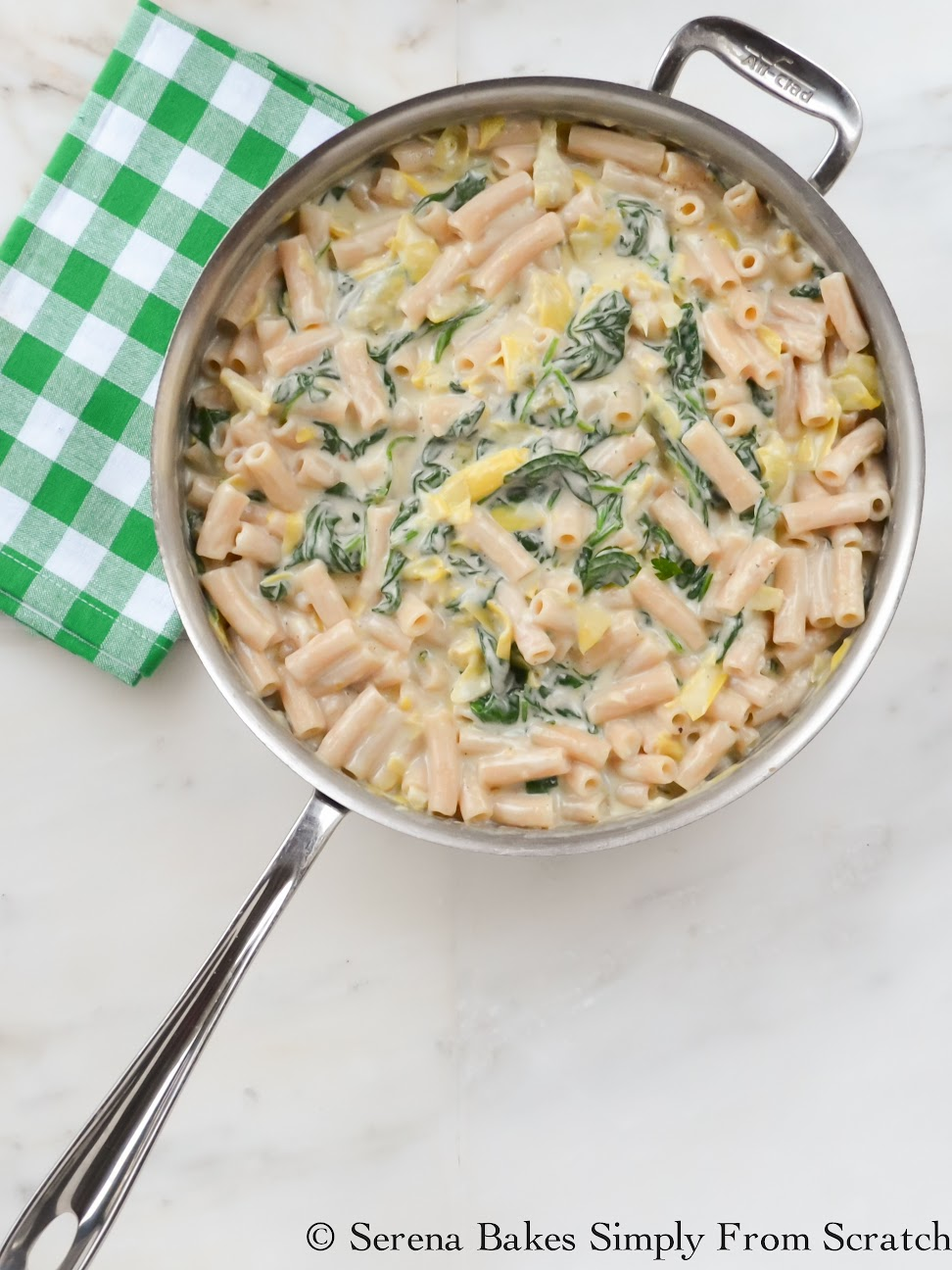 One Skillet Spinach Artichoke Pasta With A Gluten Free Option. No cooking pasta separately required!