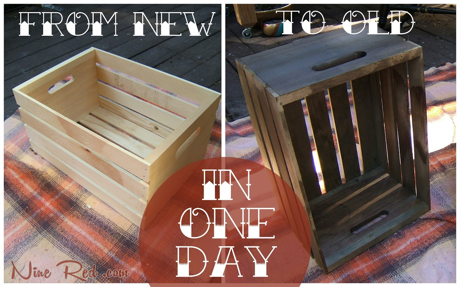 Diy antique crate end tables for Wooden crate end table