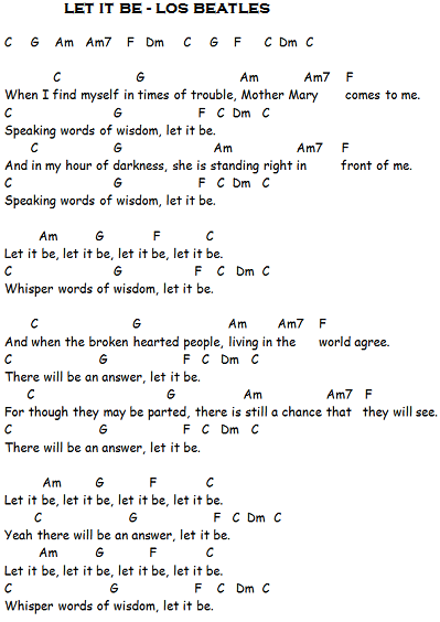 la letra de let it be: