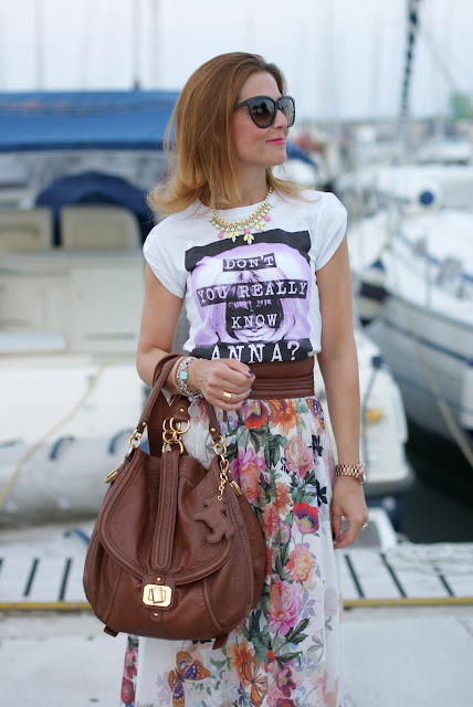 Dress Code t-shirt, Juicy Couture bag, Imperial floral skirt, Fashion and Cookies
