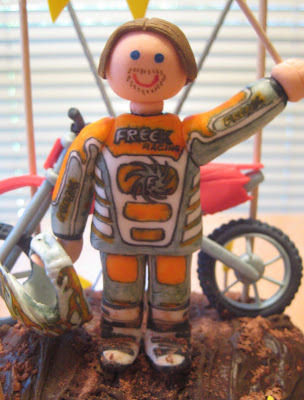 Motocross Dirt Bike Racing Cake - Close-Up View of Racer