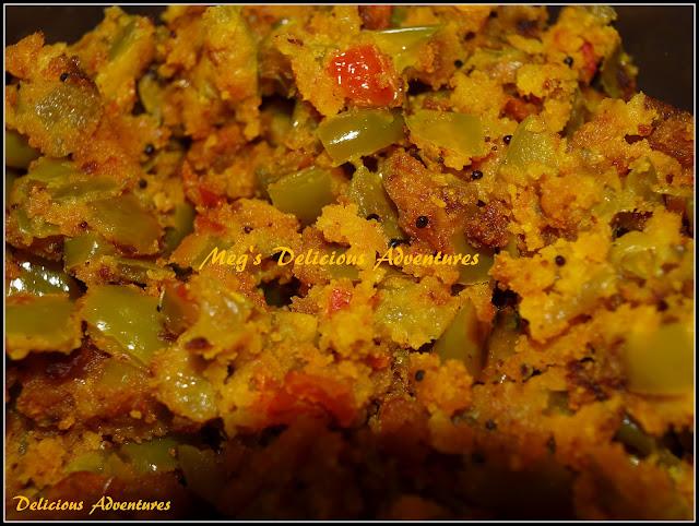 Capsicum with gram flour (Mirchichi Pith Perun Bhaji)