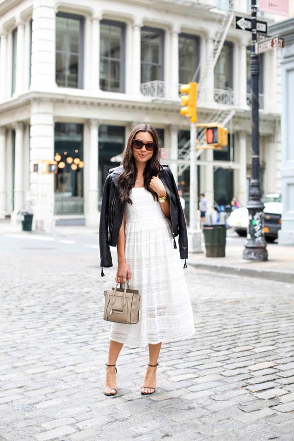roupas femininas, vestido de renda branco, jaqueta de couro, bolsa de mão, óculos de sol, moda feminina, dicas de moda