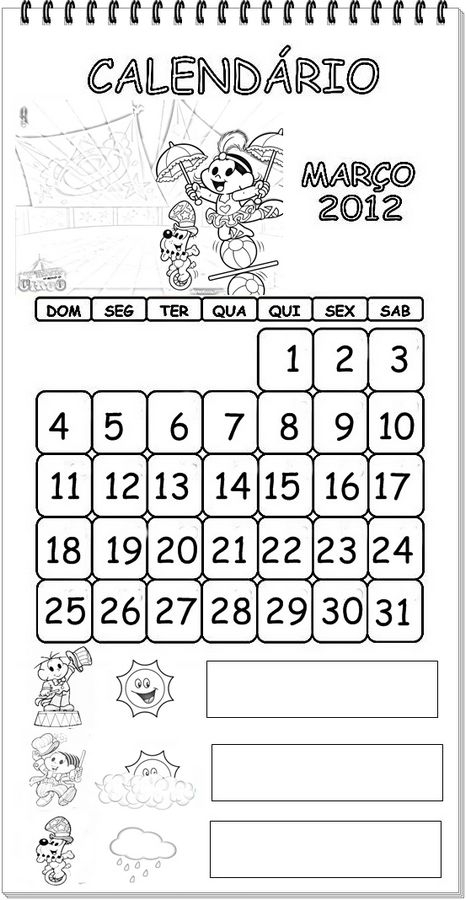Calendário 2012 da turma da Mônica para colorir