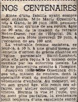 Franstalig krantenartikel m.b.t. de viering van de  honderdste verjaardag van Marie Gyselinck