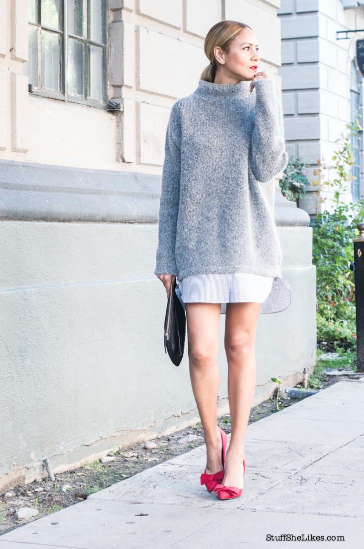 sweater dress, H & M, top blogger, fashion blogger, Los Angeles fashion Blogger, top 10 fashion Bloggers, black fashion blogger, ethnic fashion blogger, Just Fab red shoes, red shoes, red pumps,  Clare Vivier clutch, taye hansberry,