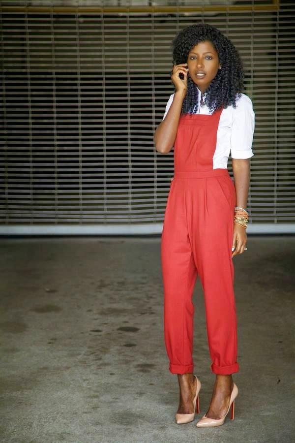 overalls-roupas femininas. moda feminina, roupas da moda, jardineira, jardineira vermelha
