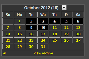 Dark Theme Calender Archive Blogger