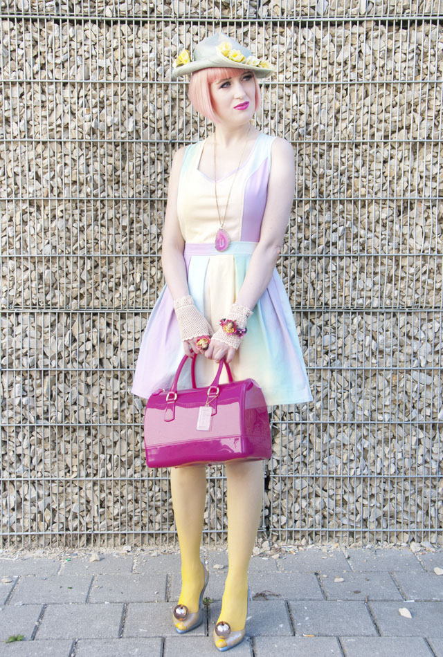 lashes for london, dip dye dress, headwear, pastel hair