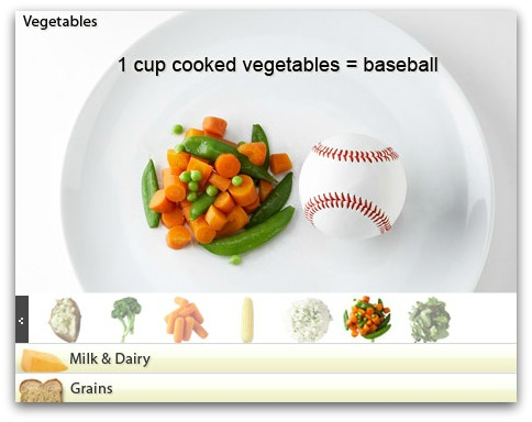 cup of vegetables serving size portion control baseball
