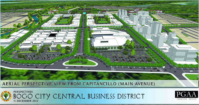 Aerial perspective of the New Bogo City Central Business District. From CAPITANCILLO AVENUE (The Main Access Road of the Business District)