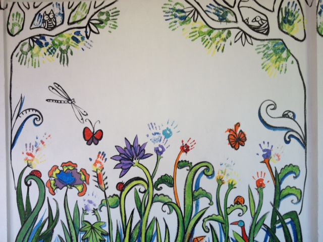 Prash mural painting with the kids in goa for Mural of flowers