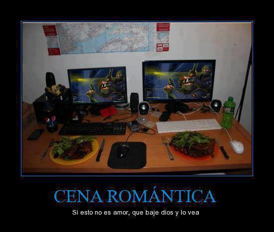Cena gamer romántica