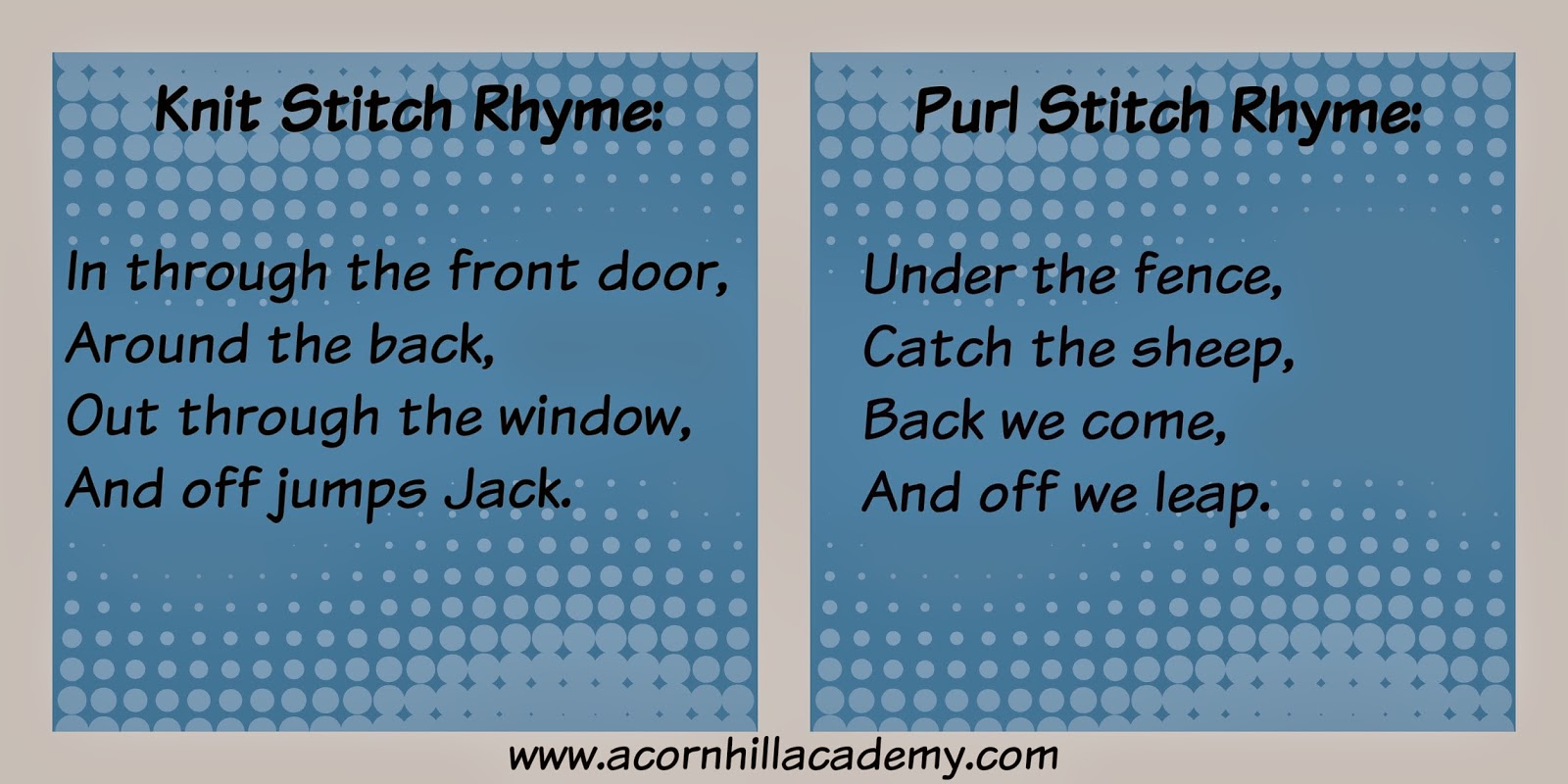 Knitting Rhyme For Purl Stitch : Acorn hill academy knitting class