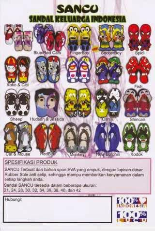 sandal sancu, sandal lucu, karakter kartun